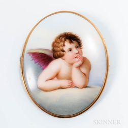Porcelain Putti Brooch