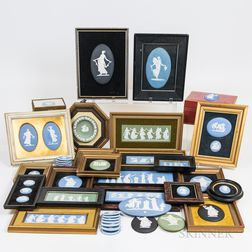 Approximately Forty-five Mostly Wedgwood Jasper Plaques and Medallions.     Estimate $150-250
