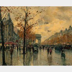Jean Salabet (French, b. 1900)      View Down The Champs-Elysées