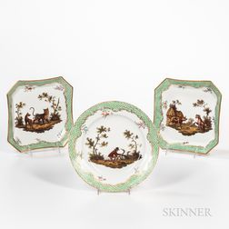 Three Coalport Porcelain Meissen-style Dishes