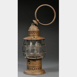 Brass and Etched Glass Railroad Lantern