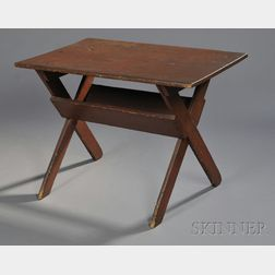Small Red-painted Pine Sawbuck Table