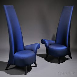 Two Contemporary La Diva High-back Lounge Chairs