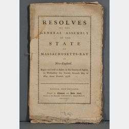 Massachusetts, General Court. Resolves of the General Assembly of the State of Massachusetts-Bay