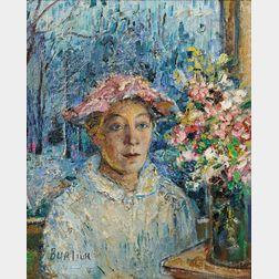 David Burliuk (Ukrainian, 1882-1967)      Portrait of Marusha Burliuk (Little Mary)
