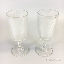 Pair of Colorless Reeded Pressed Glass Goblets