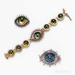 Three Pieces of Costume Eye Jewelry