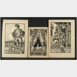 Daniel Sayre Groesbeck (American, 1878-1950)  Lot of Eleven Illustrations for Gulliver's Travels