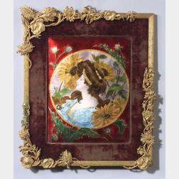 Framed Art Nouveau Enamel Plaque of a Summer Maiden
