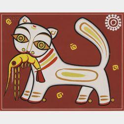 Jamini Roy (Indian, 1887-1972)      Cat with Prawn