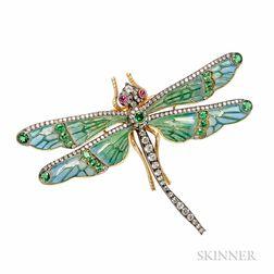 Plique-a-Jour Enamel Dragonfly Brooch
