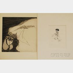 Two Etchings:      Jack Levine (American, 1915-2010), Death's-Head Hussar