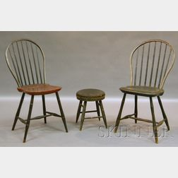 Two Painted Windsor Bow-back Side Chairs and a Horsehair-upholstered Black-painted   Windsor Stool