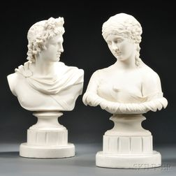 Two Classical Parian Portrait Busts