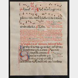 Manuscript Leaf, Baroque Choral Music, Ave Maria.