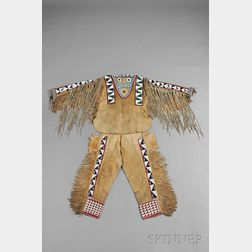 Rare Wasco-Wishram Beaded Hide Man's Shirt and Trousers