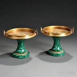 Pair of Gilt-metal and Malachite Tazza