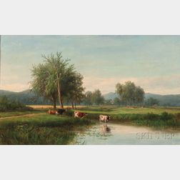Joseph Antonio Hekking (American, 1830-1903)      Verdant Landscape with Cows at a Watering Hole