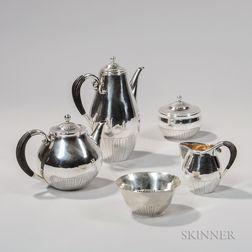 "Georg Jensen ""Cosmos"" Pattern Five-piece Silver Tea Service"
