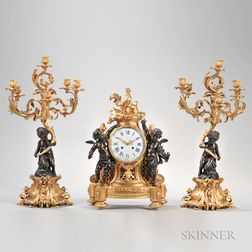 Assembled Louis XV/XVI-style Gilt-bronze Clock Garniture