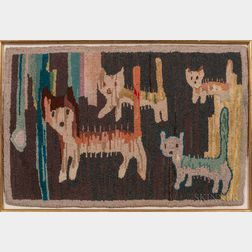 Wool Hooked Rug with Four Cats