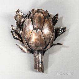 Buccellati .800 Silver Artichoke-form Table Lighter