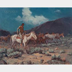 Gray Phineas Bartlett (American, 1885-1951)      Indian Rider with Horses