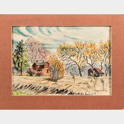 Martha Burchfield-Richter (American, 1924-1977)      Farmstead