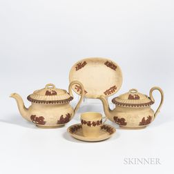 Four Wedgwood Caneware Tea Wares