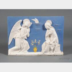 Della Robbia Style Faience Plaque of The Annunciation