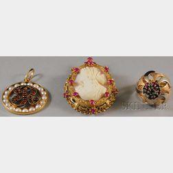 Three Gold Gem-set Jewelry Items
