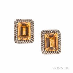 18kt Gold, Citrine, Colored Diamond, and Yellow Sapphire Earrings