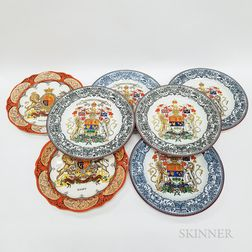 Seven Wedgwood Transfer-decorated Armorial Plates