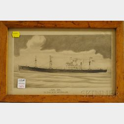 "20th Century Pencil Drawing of Merchant Marine Freighter Topa Topa  ,   ""The Pride of the Waterman-Line,"""