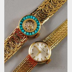 Two Lady's Gold Wristwatches