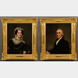 Attributed to Samuel Lovett Waldo (American, 1783-1861)      Pair of Portraits of General Jonas Mapes and Elizabeth (Tylee) Mapes.