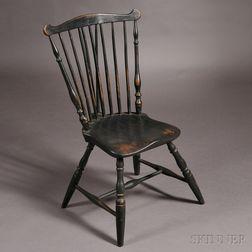 Black-painted Fan-back Braced Windsor Side Chair