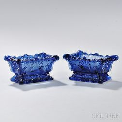 Pair of Pressed Glass Shell Pattern Open Salts
