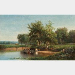 Joseph Antonio Hekking (American, 1830-1903)      Cows at a Watering Hole