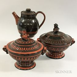 Two Glazed Redware Pottery Covered Tureens and a Teapot Attributed to Cornelia Foster