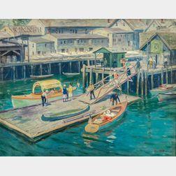 Frank Duveneck (American, 1848-1919)      The Wharf at Gloucester Harbor