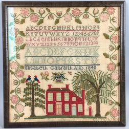 "Framed Needlework Sampler ""Elisabeth Calbraith,"""