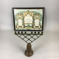Framed 1931 Lithographed Yahrzeit and a Copper Hanukkah Menorah