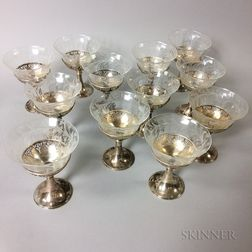 Set of Twelve Sterling Silver Sherbet Sleeves with Cut Glass Inserts