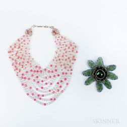 Coppola e Toppa Beaded Multi-strand Necklace and a Beaded Costume Flower Brooch