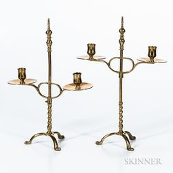 Pair of Brass Adjustable Double-arm Brass Lighting Devices