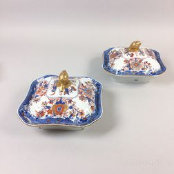 Pair of Spode Stone-China Covered Serving Dishes
