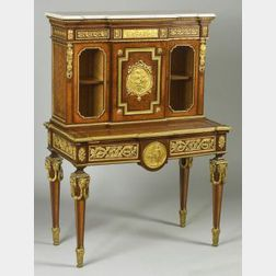 Fine Louis XVI Style Gilt-Bronze Mounted Marble-top and Tulipwood Parquetry and