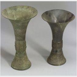 Two Bronze Ritual Beakers