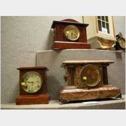 Three Seth Thomas Late Victorian Faux Marble Mantel Clocks.